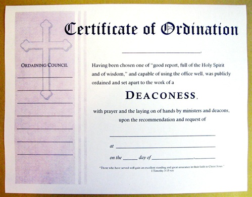 Certificate of ordination for deaconess for Deacon ordination certificate template